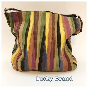 Lucky Brand Cow Leather Striped Hobo Large Bag
